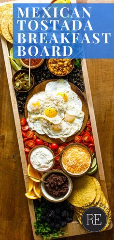A Mexican Tostada Breakfast Board has delicious tostada fixings, with over-easy eggs, refried beans, tostada shells, and more tasty toppings! Most Pinned Recipes, Over Easy Eggs, Delicious Breakfast Recipes, Refried Beans, Food For A Crowd, Tostadas, Safe Food, Delish, Shells