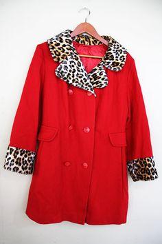 Ravishing Leopard Vintage Pea Coat M by RyanNicoleVintage on Etsy, $50.00