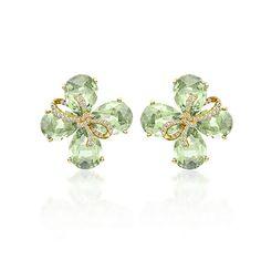 Kiki McDonough >> Flowers >> Green Amethyst and Diamond Earrings