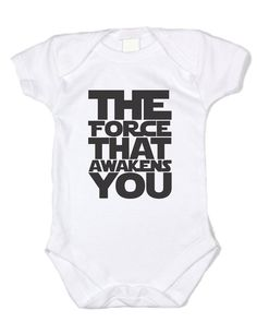 "Baffle ""The Force that Awakens You"" Star Wars Baby Clothes - Black Text (3 mo)"