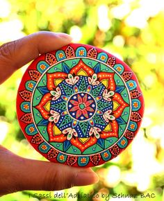 My new summer mandala stone  A stone with colors of hot sunshine and Adriatic sea ☀️ Happy Thursday