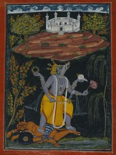The Boar Varaha Rescuing the Earth, an avatar of Lord Vishnu. Punjab Hills, Bilaspur, India ca. 1730–40. Opaque watercolor, gold and silver on paper.