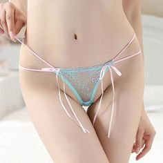 #BangGood - #Eachine1 Sexy Lovely Lace Bow See-through Seductive G-string Transparent Thongs - AdoreWe.com