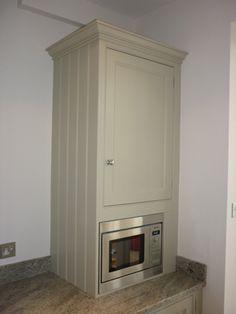Hand Painted Kitchen in Bristol - Boiler cupboard with microwave Kitchen Furniture, Kitchen Cupboards, Bathroom Interior, Kitchen Furniture Design, Kitchen Paint, Declutter Kitchen, Kitchen Plans, Hidden Kitchen, Diy Cupboards