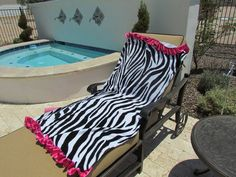 Zebra print beach towel with hot pink satin Ruffle by Lulicious, $30.00