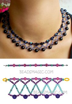 Free instructions for necklace Nicole Rocailles faceted round beads 4 . - Free instructions for necklace Nicole Rocailles faceted round beads 4 mm … – # faceted - Beaded Necklace Patterns, Bracelet Patterns, Beaded Bracelets, Making Bracelets, Stretch Bracelets, Netted Bracelet, Seed Bead Tutorials, Beading Tutorials, Beading Patterns Free