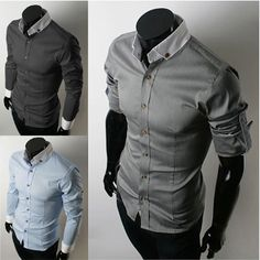 Men's Button Down Shirt with Contrasting Collar & Cuffs