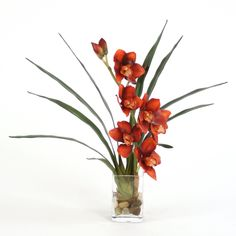Distinctive Designs Waterlook Rust Cymbidium Orchids Artificial Flower - 15954