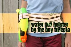 Water Gun Holster and many more supercool ideas (40 in all) to make for boys. It's so difficult to find cool boy diy gifts but these are awesome, including angry birds game, teepees, cool dressup clothing and even a very masculine mirror area for the little guy's hairdo and checkup (mine would love this! )