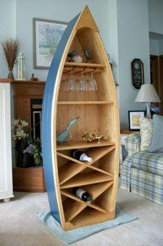 6 Ft Boat Turned Into A Bookshelf/Wine Rack/Bar