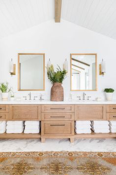Mountain Chic Meets Modern Farmhouse in a Rustic Refined Retreat. #bathroom #modernfarmhouse #rustic