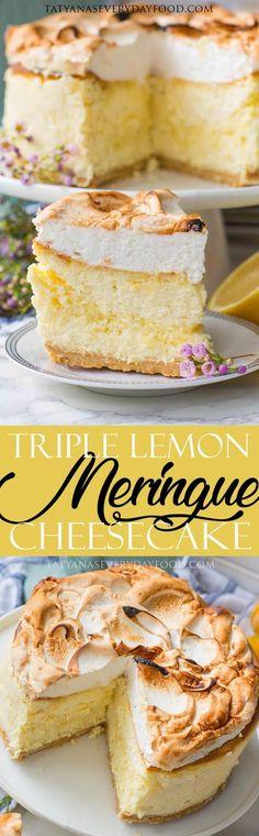 Triple Lemon Cheesecake With Meringue Topping - Tatyanas Everyday Food