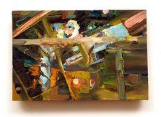 "The Scientist In His Tower, 8.5""x 5"", oil on pine. Abstract portrait of Professor John Delano of NASA, Mentor, SUNY Albany, Presidential Honors Program. • Sarah Zar"
