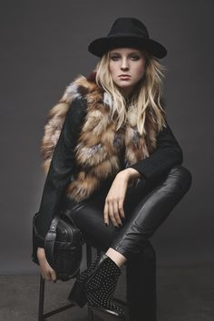 "How elegant will you feel running errands in a supple fur vest?  Simple black pieces put the spotlight on the luxe outerwear and keep the outfit daytime-appropriate. This is the kind of power piece that makes you feel like a warrior, Bönström says: ""It's the ultimate image of the masculine/feminine attitude that ZV adores."""