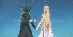 "The characters Kirito and Asuna, from the series ""Sword Art Online."" >> This is completely one of the best ""awww!"" moments in the anime. Description from pinterest.com. I searched for this on bing.com/images"