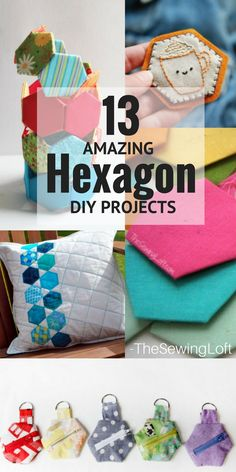 These Hexagon DIY sewing projects are so inspiring and perfect for using up scrap fabric. Grab your fabric scraps because these DIY hexagon projects are so inspiring and easy to make. No sewing machine required on some. Hexagon Patchwork, Hexagon Quilt, Diy Sewing Projects, Sewing Tutorials, Sewing Ideas, Sewing Crafts, Easy Sewing Patterns, Quilt Patterns, Quilting Ideas