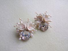 Check out Wedding Bridal Victorian Earrings, Flower Earrings, Clip Bride Earrings, Bridesmaid Earrings, Crystal Pearl Earrings by Zeke's Safari on zekessafari