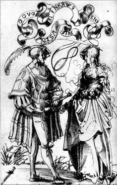 Young Confederate nobleman and wife, pen drawing by Niklaus Manuel Deutsch, c.1515. This ultra-fashionable young civilian couple's clothes are almost indistinguishable from those worn by their more military-minded contemporaries. (Offentliche Kunstsammlung, Basel)