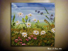 Original Textured Wildflower Painting for your home, office or gift by Nata S. New and in excellent condition. Directly from my studio.  Title: Summer Day  size: 12 x 12 MEDIUM: Acrylic. Impasto    CANVAS: 1.5 Gallery Wrapped Canvas, the sides painted in black  A final coat of high quality varnish has been applied to protect the surface of this painting.   SIGNATURE: Each piece is signed and dated on the back by the artist.   SHIPPING: Packages are mailed within 1-2 days after receiving the…