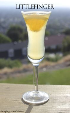 Littlefinger: 1 oz tequila 1 oz fresh orange juice quarter of an orange slice for garnish  Pour all the chilled ingredients into a cordial glass and drop the small orange slice into the glass for garnish.