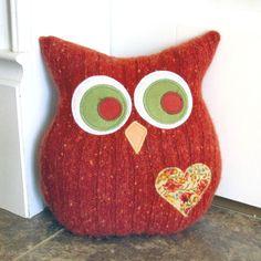 Owl Pillow Plush - Recycled Wool  - Autumn Orange. $26.00, via Etsy.