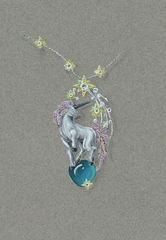 Pin by Eliza Tirta on Jewelry sketches High Jewelry, Jewelry Art, Unique Jewelry, Jewelry Design Drawing, Jewelry Illustration, Jewellery Sketches, Guache, Animal Jewelry, Necklace Designs