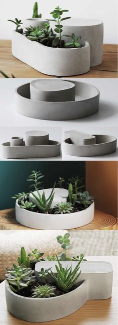 Concrete Modern Geometric Succulent Planter Flower Pot Pen Pencil Holder  Office Desk Stationery Organizer