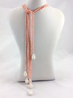 Coral and Baroque Pearl Lariat Necklace