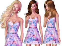 Scarlette Embroidered Hem Dress by CherryBerrySim - Sims 3 Downloads CC Caboodle