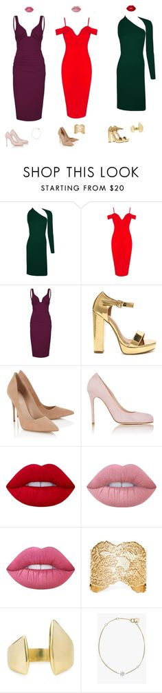 """""""Dinner"""" by audrey-balt ❤ liked on Polyvore featuring Nicole Miller, Lipsy, Barneys New York, Lime Crime, Aurélie Bidermann and By Charlotte"""
