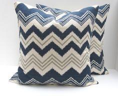 blue & Grey Fabric | ... .Missoni Pillow.Blue Grey Pillow.Printed fabric both sides.housewares