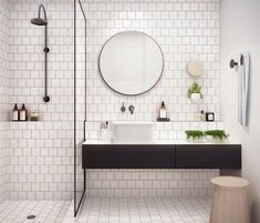 Modern bathroom design must have proper safety features to prevent accidents. These are general and specific features a bathroom needs. Room Wall Tiles, Bathroom Floor Tiles, Bathroom Fixtures, Bathroom Mirrors, Tile Mirror, Bath Tiles, Bathroom Cabinets, Minimalist Bathroom, Modern Bathroom
