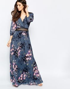 Image 1 ofLittle Mistress Floral Print and Lace Maxi Dress