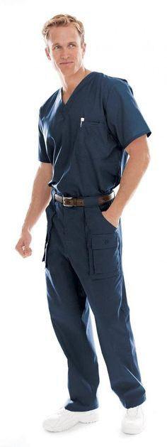 Landau Men's Vented Scrub Top #scrubs #men #blue