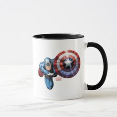 Shop Captain America Assemble Mug created by avengersclassics. Personalize it with photos & text or purchase as is! Superhero Gifts, Captain America Shield, Artwork Design, Cartoon Characters, Favorite Color, Dinnerware, Character Art, Birthday Cards, Coffee Mugs