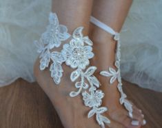 barefoot sandals ivory Beach wedding shoes Elegant by UnionTouch
