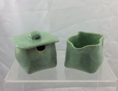 Sugar and creamer green pottery sugar and by EastburnOriginals