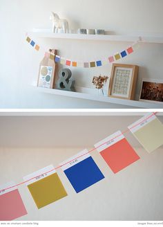 DIY garland. Paint chips. Paint swatches. Recycle. Crafts.