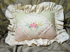 Image detail for -Embroidered Vintage Ruffled Pillow