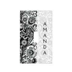 Bold Black White Floral Design Light Switch Cover
