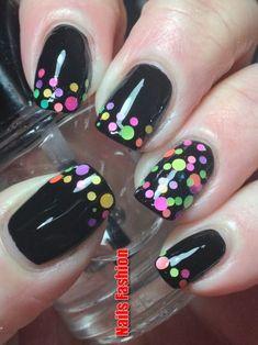 Canadian Nail Fanatic: Digit-al Dozen Does Rainbows; Dot Nail Art, Polka Dot Nails, Gel Nagel Design, Dot Nail Designs, Gothic Nails, Nail Art For Beginners, Nail Patterns, Nagel Gel, Black Nails