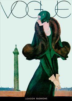 Vintage Poster – Vogue Art Deco Green Coat – Emerald Green – Fashion