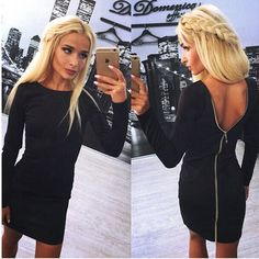 Bodycon Sheath Dress Little Black Long Sleeve Party Dresses Women Clothing  Back Full Zipper Robe Sexy Femme Pencil Tight Dress 14cd0fb37