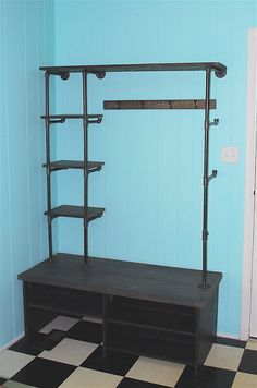 Pipe Shelves and DIY Bench for a Mini Mudroom :: Hometalk