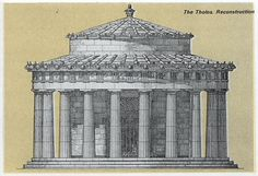 The Tholos at Delphi, reconstruction from the South, Circular building with 14.76m exterior diameter and 13.5m height. The order is Doric on the outside, with twenty columns.