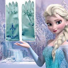 Kinder Mädchen Elsa Eiskönigin Prinzessin Blaue Handschuhe Kostüm Cosplay Party