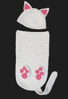 Cat Baby Cocoon and Hat Set - Newborn - Baby Shower - Gift. GreyFox Studios