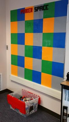 Lego Wall in the Washington Elementary MakerSpace. See step-by-step instructions from the website link.