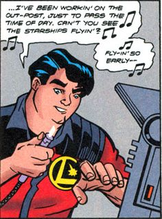 Legion Engineer, Chuck Taine, attends the Legion Outpost's dedication. From Legion #100 (1998). Art by Jason Armstrong.