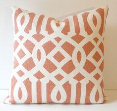"F.Schumacher Exclusive Trellis II 18"" Pillow Orange and White Linen. $95.00, via Etsy."